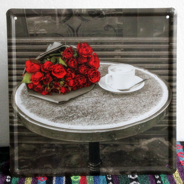 "New ""Rose"" Vintage wall art decor Bar house coffee retro plates Metal painting iron poster 20*20 CM free shipping YT-01413(China (Mainland))"