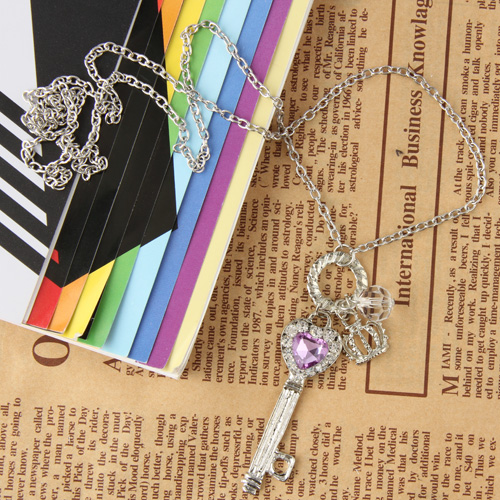 Heart Silver Color Crown Key Shape Pendant Purple Rhinestone Crystal Long Necklace Sweater Chain Trendy(China (Mainland))