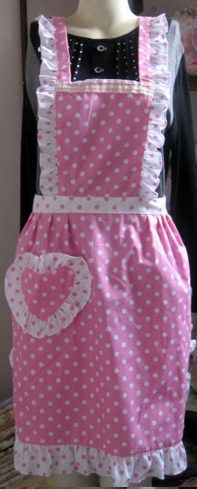 Ladies Pretty Pink Polka Apron with heart Shape pocket(China (Mainland))