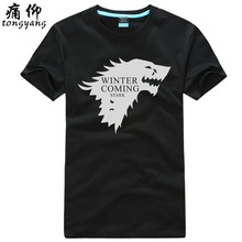 Buy Game Thrones Direwolf T-shirt House Stark Winterfell Cotton T-shirt men Winter coming Casual Streetwear T shirt Crossfit for $17.47 in AliExpress store