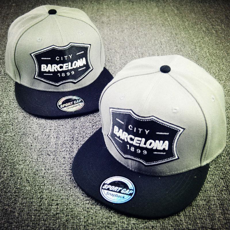 2015 Men's New CITY BARCELONA 1899 Snapback Hats Velcro Backing Baseball Cap Hip Hop Caps For Men Women Gray(China (Mainland))