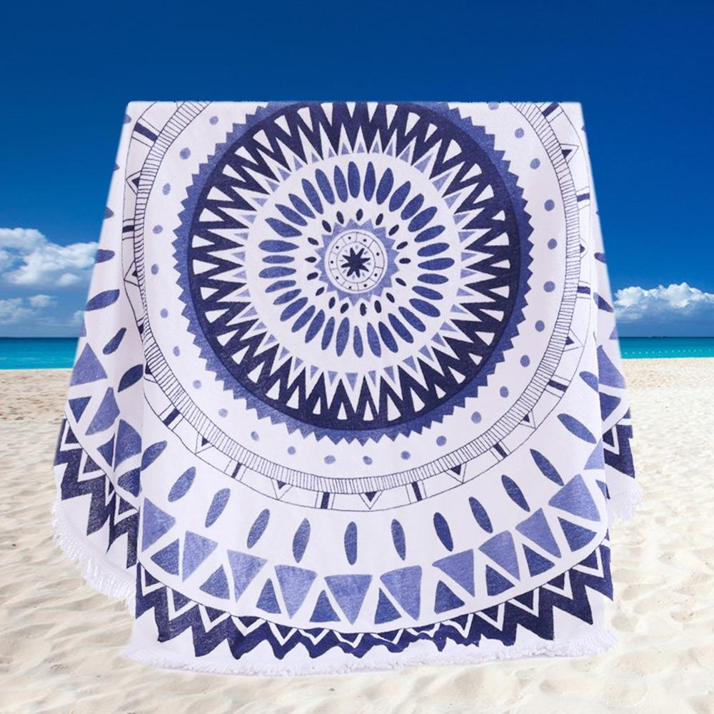 100% Cotton Round Beach Towel 150*150cm/59*59'' Bath Towel Tassel Decor Geometric Printed Bath Towel Summer Style 1pcs/lot(China (Mainland))