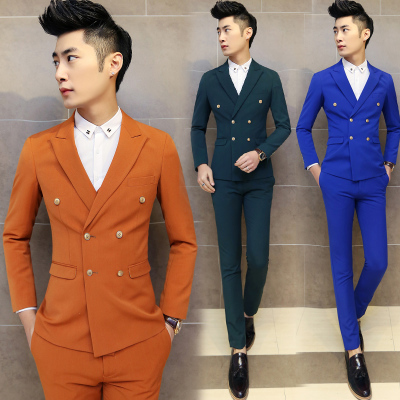 2015 New Arrival Blue Yellow Mens Suits Wedding Mens Groom Slim Fit Groom Suits Double Breasted Blazer Male Casual Smoking Suit