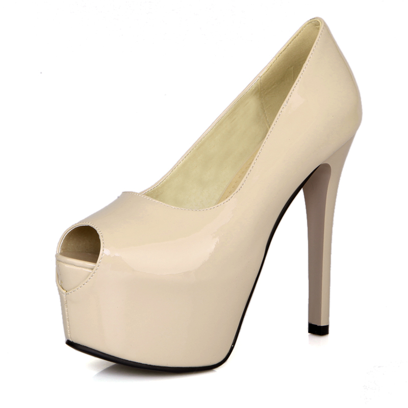 2014 New Sexy Black Red White Apricot Open Toe Super High Heels Women Glossy Wedding Platform Pumps Ladies Shoes AC-1