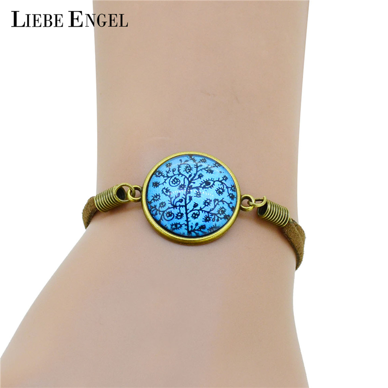 Fashion Bracelet Bangles Cabochon Charms Wristband Cuff Leather Wrap Bracelets Women Men 2015 jewelry - I Handmade store
