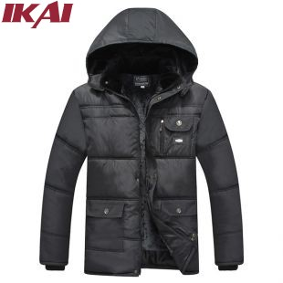 Men Winter Thick Jacket With Hood Fleece Cotton Padded Stand Collar Solid Mens Coat Fashion Men's Jackets Man Coats SMK0040(China (Mainland))