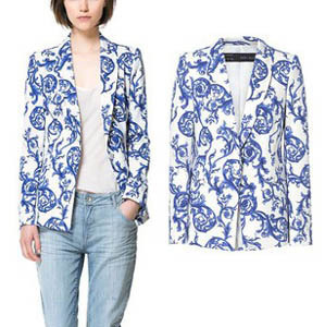 New European 2013 Autumn Fashion Designer Brand Women Jackets And Blazers Casual Retro Ceramic Printing Women's Suits Jacket