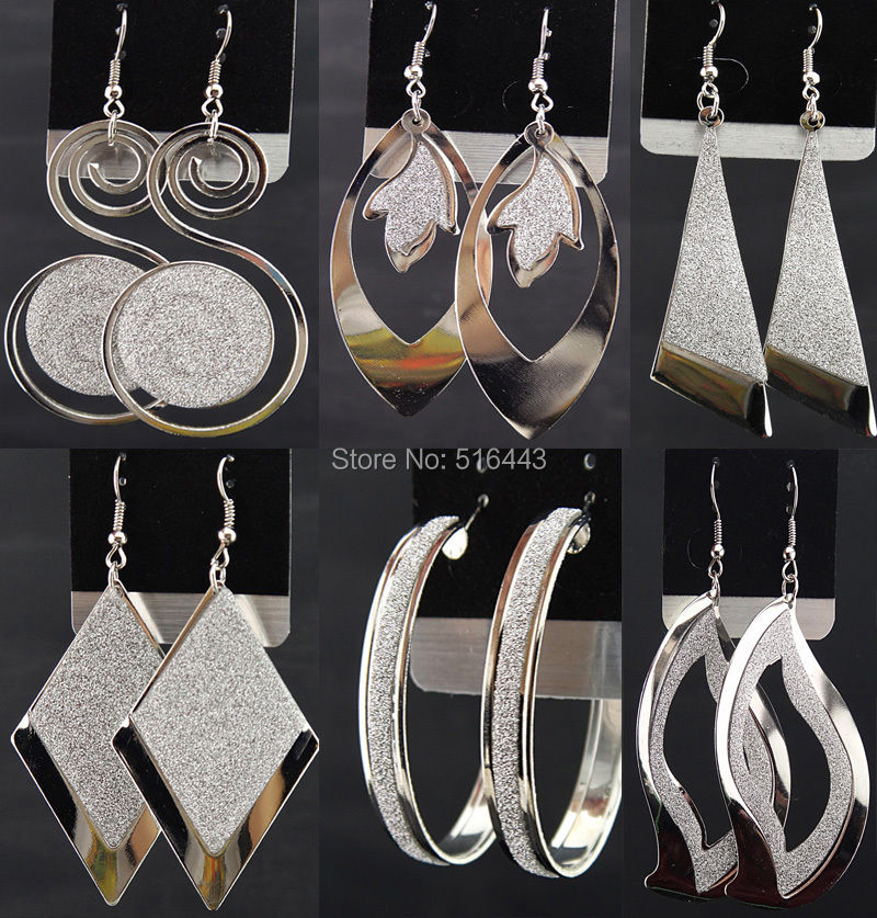 Charms 12Pairs Mix Style Fashion Silver P frosted Drop Earrings Women Jewelry Lots A-541 - Edna store