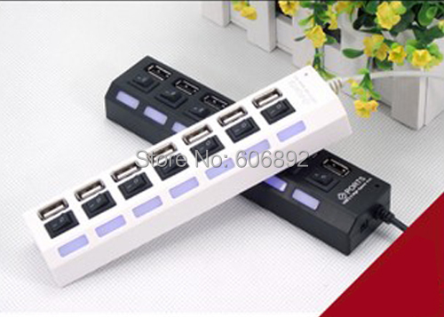 7 Ports LED USB 2.0 High Speed 480 Mbps Adapter Hub Power on/off Switch PC Laptop Computer Free Shiping - HK VIVID TECHNOLOGY store