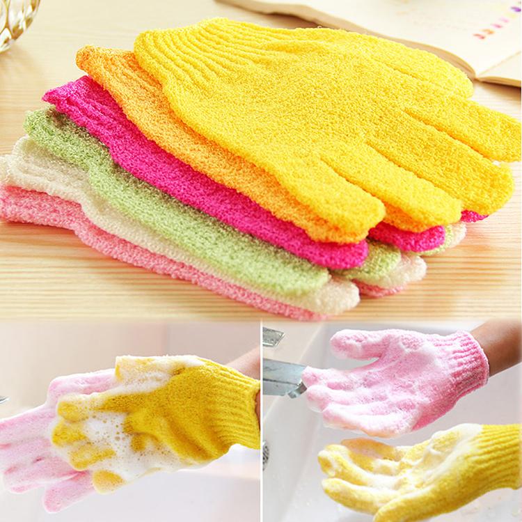 One Shower Exfoliating Wash Skin Spa Foam Bath Gloves Massage Loofah Scrubber Color Random HG-1429-Random(China (Mainland))