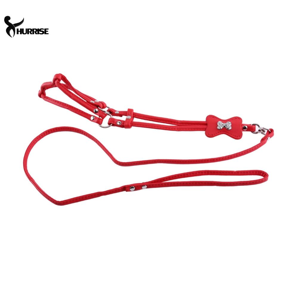 Rhinestone Bone Pet Puppy Dog Chest Strap Pet Dogs Cat Harness PU leather Red/Pink/Rose/Black/Gold Leopard(China (Mainland))