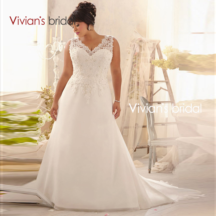 Vivian's Bridal Plus Size Wedding Dresses V Neck A Line Lace Appliques Chiffon Sweep Train Bridal Bride Wedding Gowns 2016 RQ09(China (Mainland))