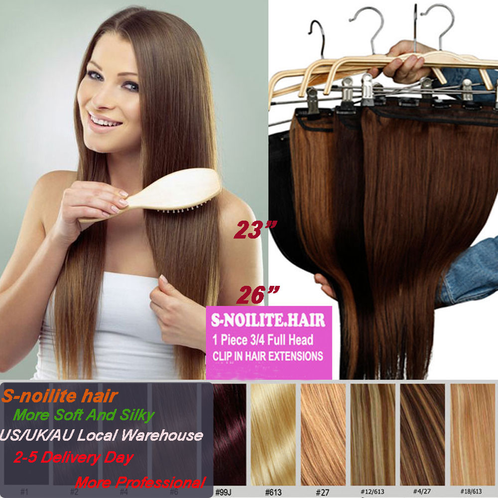 """Professional 3/4 FULL HEAD CLIP IN HAIR EXTENSIONS 23/26"""" Straight Synthetic hairpiece human made hair extension Black Brown Red(China (Mainland))"""