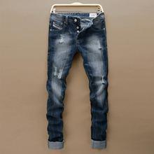 Moda italia jeans di marca degli uomini maschio gamba dritta pantaloni in denim di affari del mens pantaloni jeans neri degli uomini(China (Mainland))