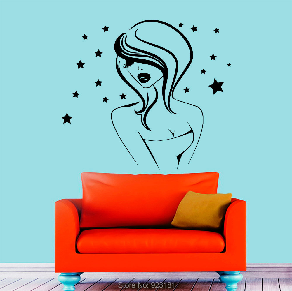Stars Girl Model Hairdressing Beauty Salon Wall Art Sticker Decal Home DIY Decoration Wall Mural Removable Room Decor Sticker 57(China (Mainland))