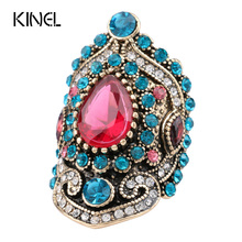 2017 New Turkey Jewelry Pink Big Vintage Wedding Rings For Women Plating Gold Mosaic Blue Crystal Fashion Love Gift(China (Mainland))