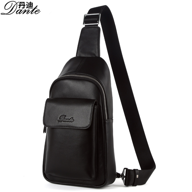 Free shipping Simple Style Men's Black Genuine Leather Satchel Bag Shoulderbag Motorcycle Bicycle Sport Bags handbags Chest bag(China (Mainland))