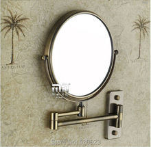 Antique Bronze Bathroom 8 inch Round Make-up Mirror Double Side Hairdressing  Cosmetic Mirror Wall Mounted(China (Mainland))