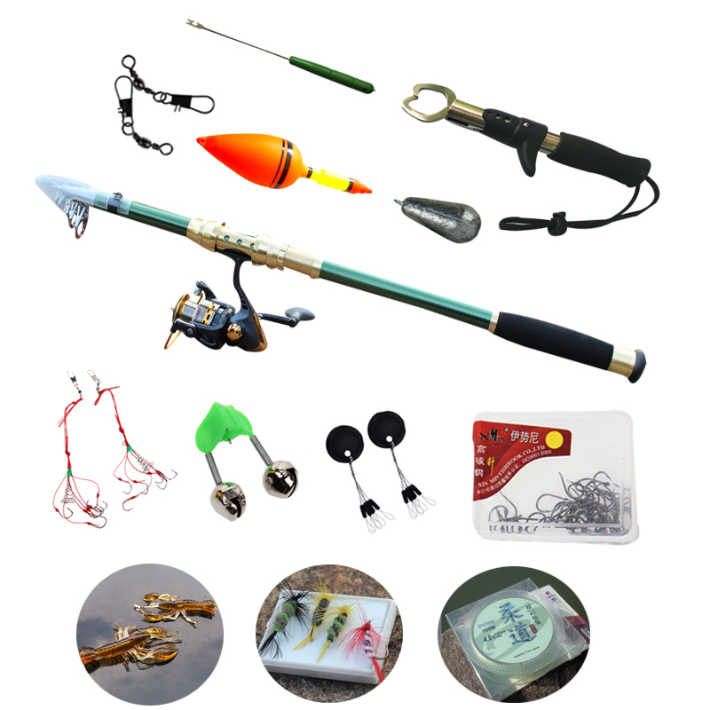 spinning fishing rod with reel tackle accessories combos