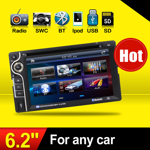 100% New universal Car Radio Double 2 din Car DVD Player In dash Car PC Stereo Head Unit video car parking camera