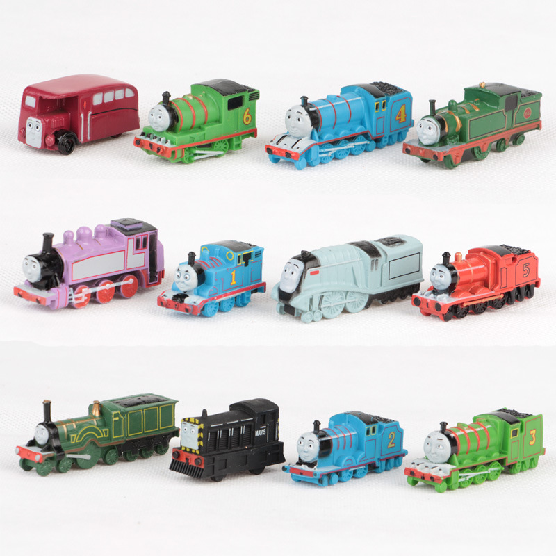 12pcs/set New Thomas and His Friends Anime Wooden Railway Trains Toy Model Great Kids Toys for Children Christmas Gifts(China (Mainland))