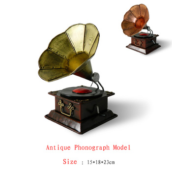 Antique craft antique phonograph model small size handmade craft home decoration bar coffee house display birthday gift