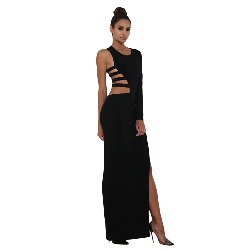 Summer new sexy black/white single long sleeve cut out detail jersey maxi dress elegant solid color side slit maxi long dress(China (Mainland))