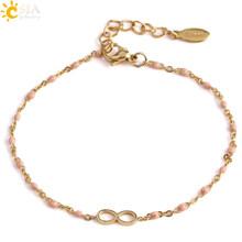 Csja Infinity 8 Warna Emas Gelang & Gelang Stainless Steel Link Rantai Delica Manik-manik Laporan Pesona Gelang untuk Wanita s419(China)