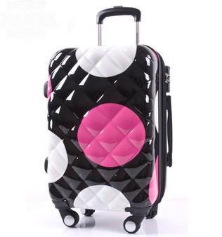universal wheels trolley luggage travel bag 20 large polka dot luggage(China (Mainland))