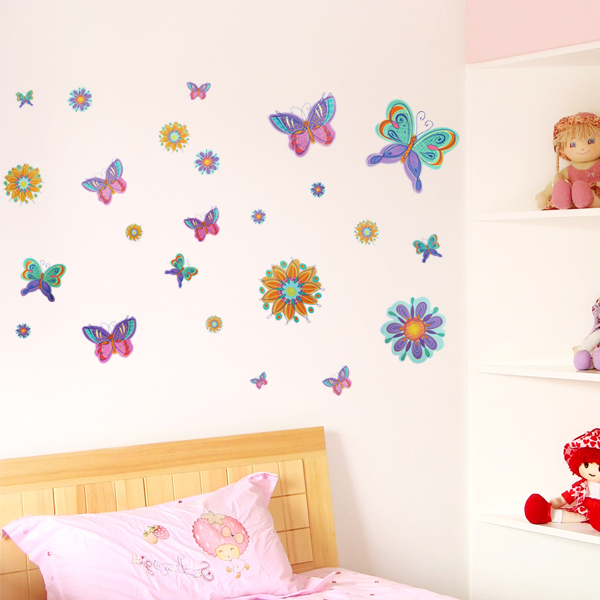 XY8067 Free Shipping Cartoon colorful Dream Butterfly Wallpaper PVC Removable bedroom Decal House Sticker Decor Wall Stickers(China (Mainland))