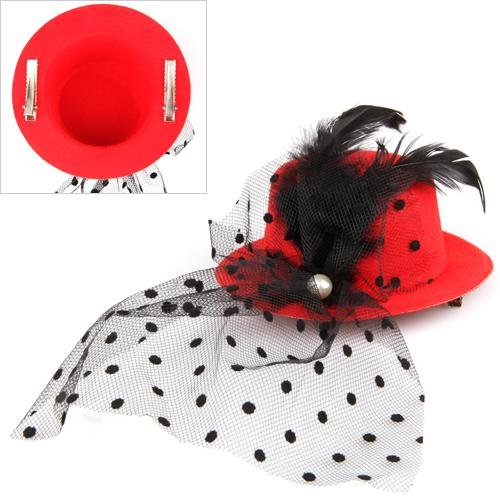 Feather Veil Hair Clip Red Mini Top Hat Party Cosplay Goth,Free Shipping(China (Mainland))