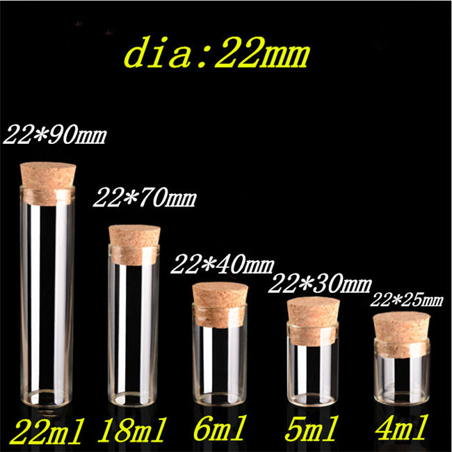 2230mm 5ml Mini Glass Vials Jars Packaging Bottles Test Tube With Cork Stopper Empty Glass Transparent Clear Bottles