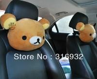 u1 wholesale cute Rilakkuma pillow car headrest auto neck pillow 2PCS/LOT brown color