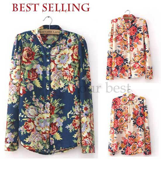 Flower Printed Tops Flower Print Chiffon Tops