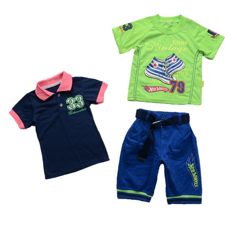 2015 New Summer Style Children Boys Clothing set short sleeve T-shirt+polo t shirt +pant 3 pcs set,baby kids clothes clothing(China (Mainland))