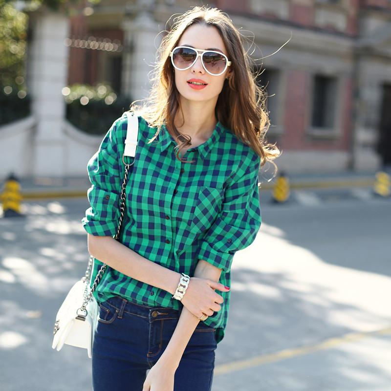Long green oversized plaid shirt women fashion loose for Oversized plaid shirt womens