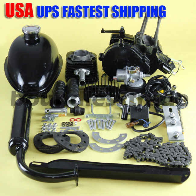 OPHIR 80CC 2 stroke Bicycle Engine Kit Single Cylinder 80cc Motor Kits for Motorized Bicycle Black