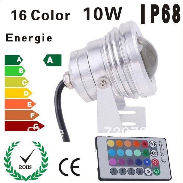 RGB 10x1W Outdoor Landscape Lamp High Power 10W LED Underwater Light LED Fountain Pool Light Spotlight Waterproof IP68 DC12V/24V