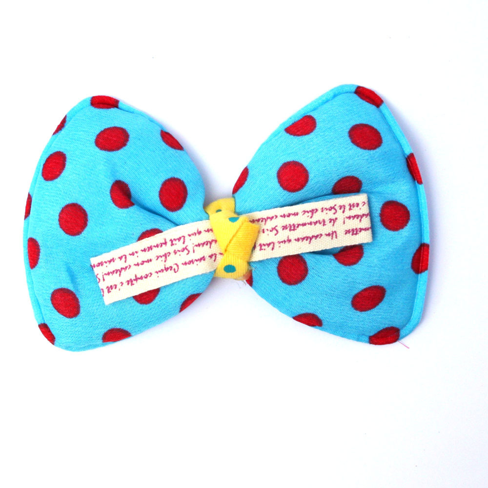9*6cm Blue Bows, Ahildren hair accessories,baby hairbows girl hair bows with Red dot,6pcs/lot Garment DIY Patches GFC013-02(China (Mainland))