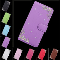 Palace Flower Tower Design Diamond PU Leather Cover For Doogee X7 Pro Case,Flip Wallet Phone Bags Cases Fundas