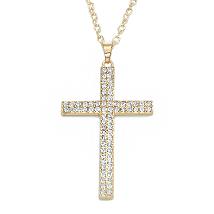 18k gold plated cross pendant necklaces rhinestone hip hop