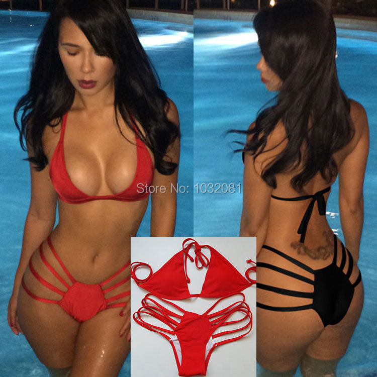 2015 new fashion black red Sexy strappy bikini string swimsuit swimwear women bathing suit bather biquini maillot de bain V73(China (Mainland))