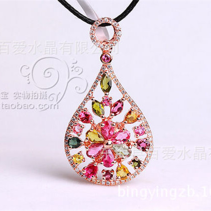 Natural tourmaline crystal pendant authentic 925 sterling silver rose gold pipa Chinese valentines day gift <br><br>Aliexpress