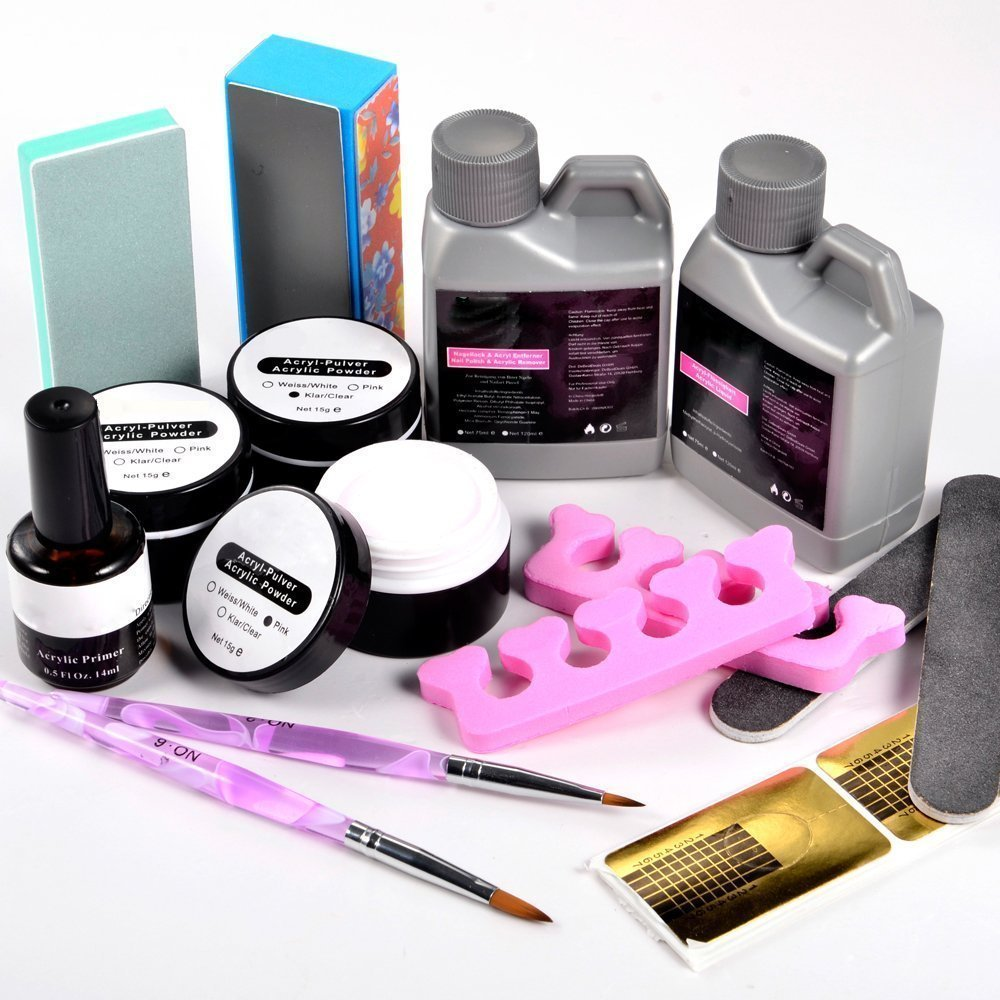 Nail Art Crystal Acrylic Powder Liquid Kit Buffing Brush Pen Full Set Duck Tips - NEW SWELL Festive & Party Supplies Stores store