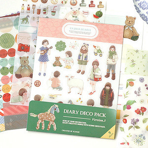 9 sheets diary deco sticker pack include animal & fruit & point index & dot & label & flower(China (Mainland))