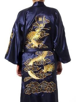 Морской синий китайский традиционный мужчины в шелк атлас халат вышивка кимоно ванна ...