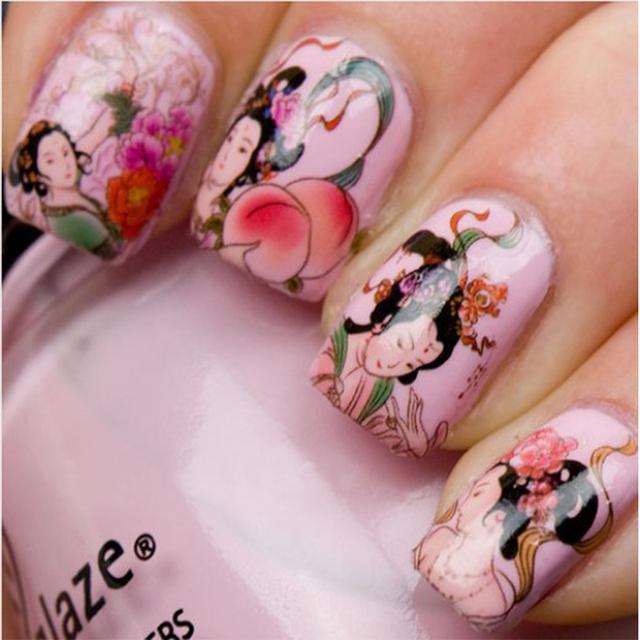 3 pcs Fashion Nail Wrap Water Transfer Nail Art Sticker Geisha Girls Nail Art Decorations Dropshipping [Retail] SKU:B0075XXX