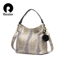 Realer 2016 Women Genuine Leather Crocodile Bags Shoulder Bag With Fur Ball Embassed Handbag Messenger Bags For Ladies(China (Mainland))