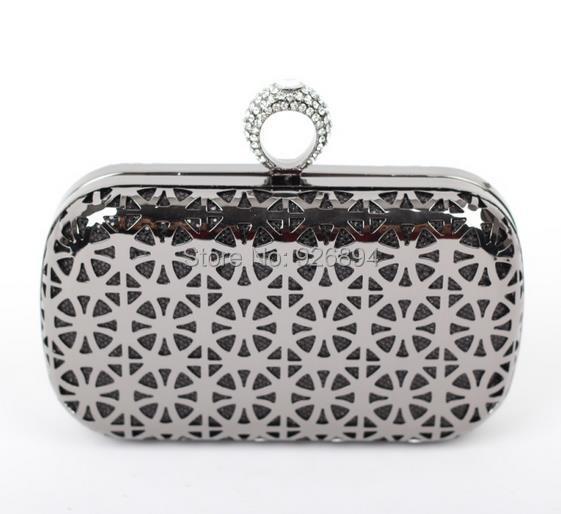 Роскошь алмаз кольцо полые металл мозаика дамы сумочка сцепление вечернее мешок mini цепь наплечная сумка 3 цвета