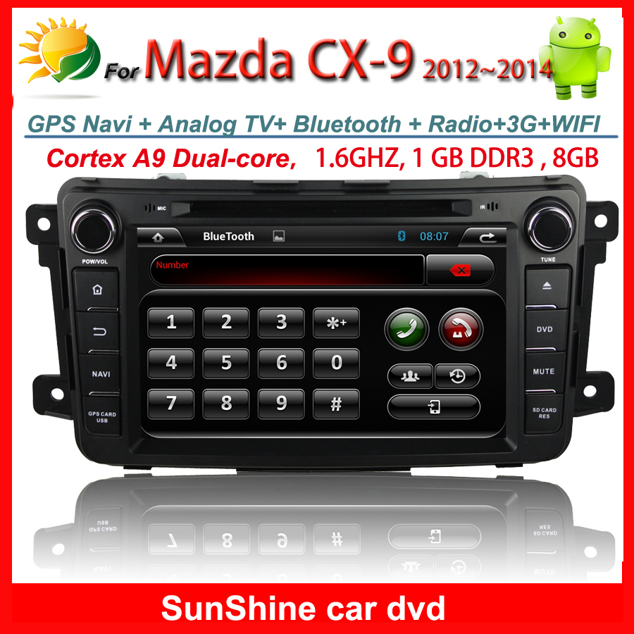 2 din 8 inch android car dvd player for Mazda CX-9 Radio Bluetooth TV 3G WIFI iPhone SD USB OBD Free MAP Card SunShine(China (Mainland))